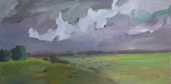 original landscape 20x10 storm clouds green field