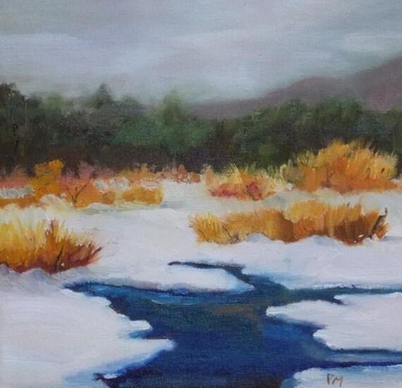 landscape oil painting winter frozen