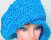 Blue Moebius One Sided Cloche Hat Crochet