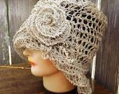 Crochet Pattern Hat, Crochet Sun Hat Pattern for Women, Crochet Hat Pattern, Womens Hat, OMBRETTA Hemp 1920s Cloche Hat Pattern with Flower