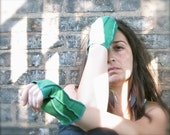 Eco Funky Fingerless Gloves Green by mylittleaura
