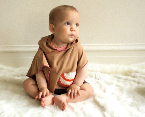 Sale Organic Beige Poncho with Hoodie and Oranges appliqués