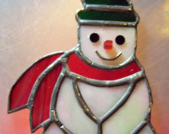 Snowman, 4 x 5 1/2 inches, of Opaque White, Clear Green & Red Stained Glass, Ornament or Suncatcher