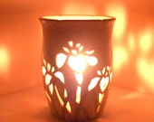 Ceramic Luminary/Candle Holder,Wheel Thrown, Hand Carved Iris