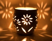 Wheel Thrown, Hand Carved Candle Holder