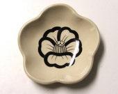 Handmade Semi Porcelain Dish, Camelia