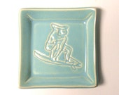 Hand built  semi porcelain square Plate, Surfer