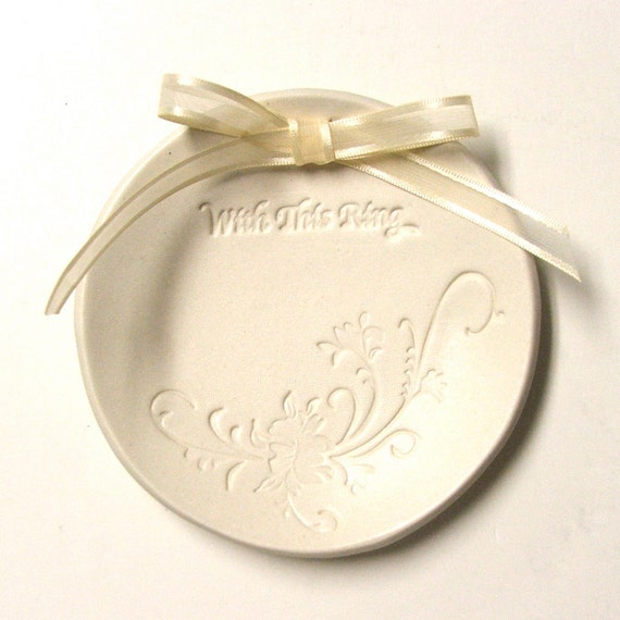 "Porcelain Wedding Ring Plate, Hand Built, ""With This Ring"""