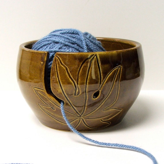 Knitting Yarn Holder : Yarn bowl knitting holder crochet leaves