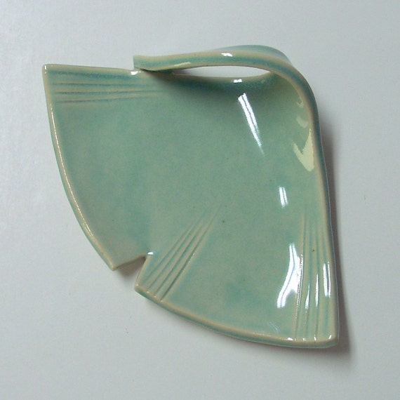 Pretty  Ginkgo Plate, Blue Green