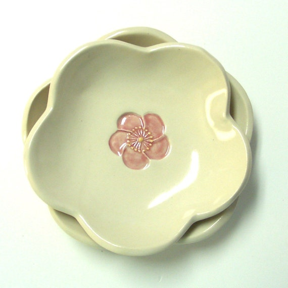 Pretty Little  Dishes, Nested set of Two, Ume