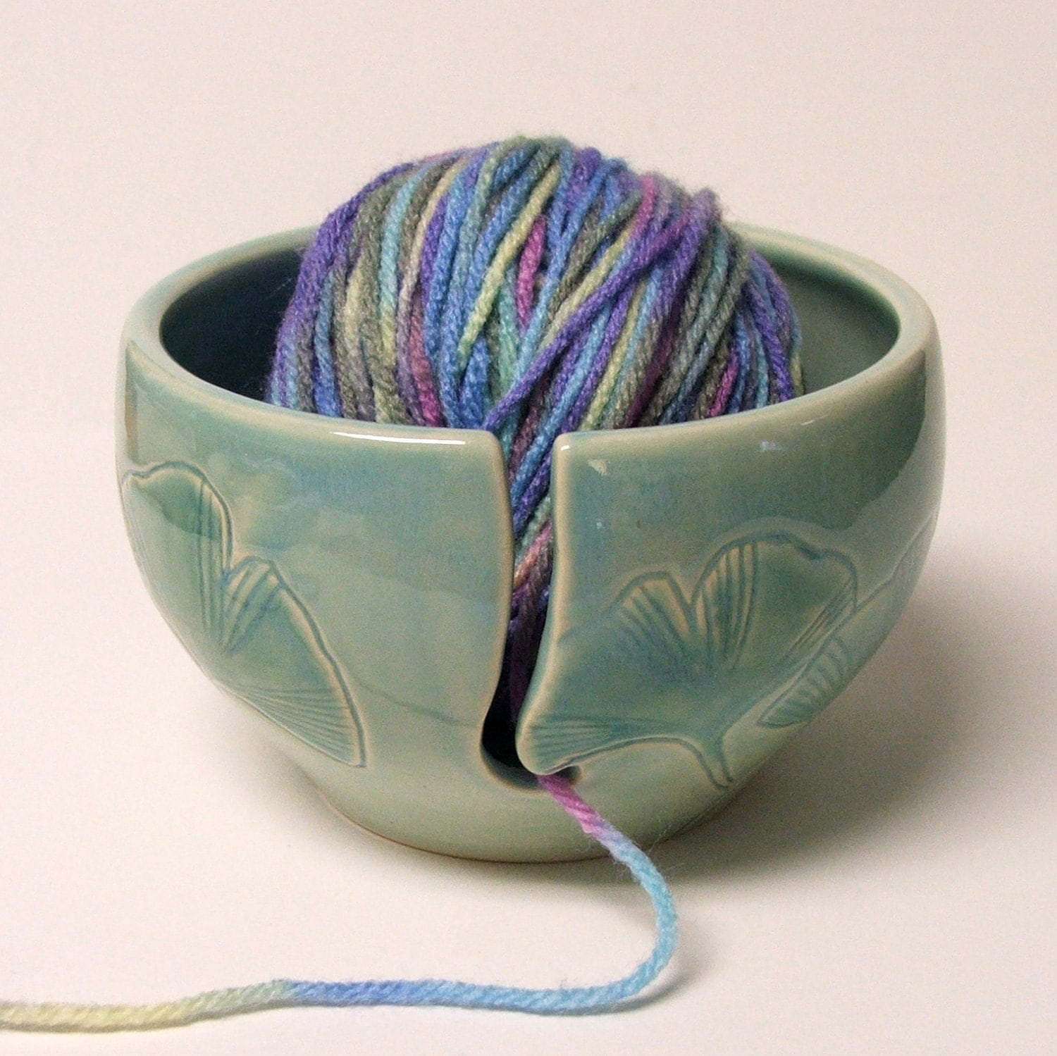 Knitting Yarn Holder : Ceramic yarn bowl knitting holder by potterybysumiko