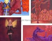 SALE! 20 greetings cards - Art by Nancy Farmer - fantasy, fairies, alternative Christmas cards, birthday cards etc. blank inside
