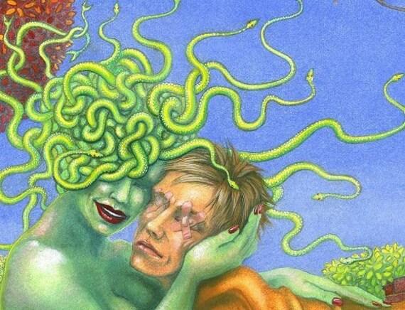 Medusa and Oedipus  - art print - 5x7 inch