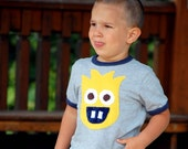SALE 15% OFF Shop Closing MONSTER Shirt - Limoni the Monster Shirt - Grey Tee with Navy Blue Trim - For the Big Boys - Sizes 5, 6, 7, 8