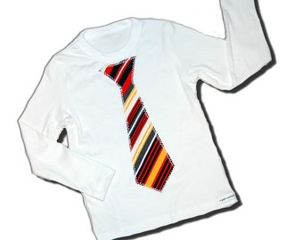 Sunday Best Necktie Shirt - Diagonal Retro Sunset Stripes - For Baby Boys or Big Boy Youth - Available in Short Sleeves - Or Bodysuit