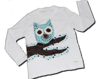 COOL OWL SHIRT - Aristotle the Owl - Short Sleeve Onesie or Long Sleeve Onesie also Available - handmade by joeyandaleethea
