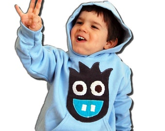 MONSTER  HOODY - Nero the Monster Hooded Sweatshirt - Sky Blue Hoodie - MONSTERLICIOUS - Custom Made