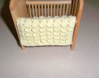 Miniature Blanket -  Light/Pale Yellow - Miniature Crib Doll House Blanket/Afghan - One Twelfth Scale  Gift Idea
