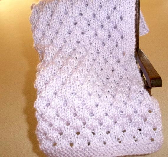 Pale Lavender Hand Knit Doll Blanket- American Doll Banket-Afghan Throw  Lavender Comfort - Security  Blanket