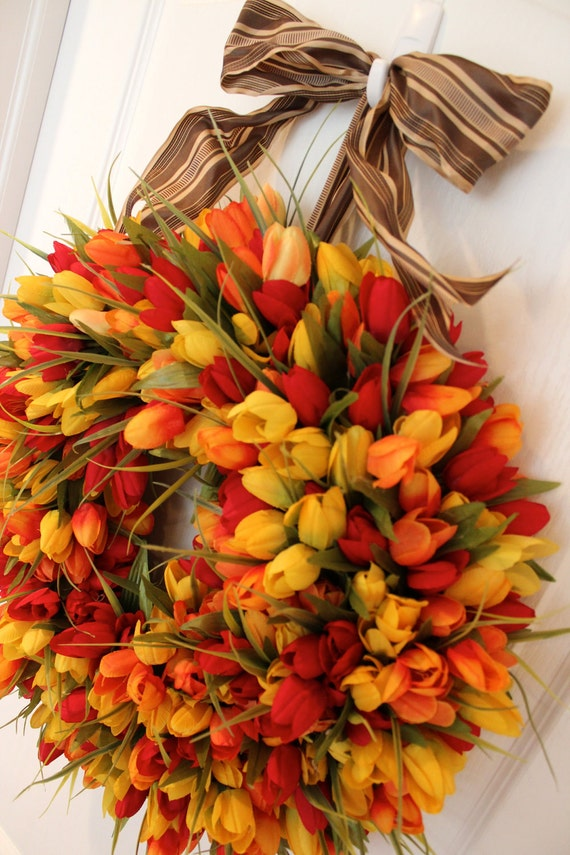 Spring - Fields of Red / Orange / Yellow Tulips - Wreath - Ribbon Bow - Front Door