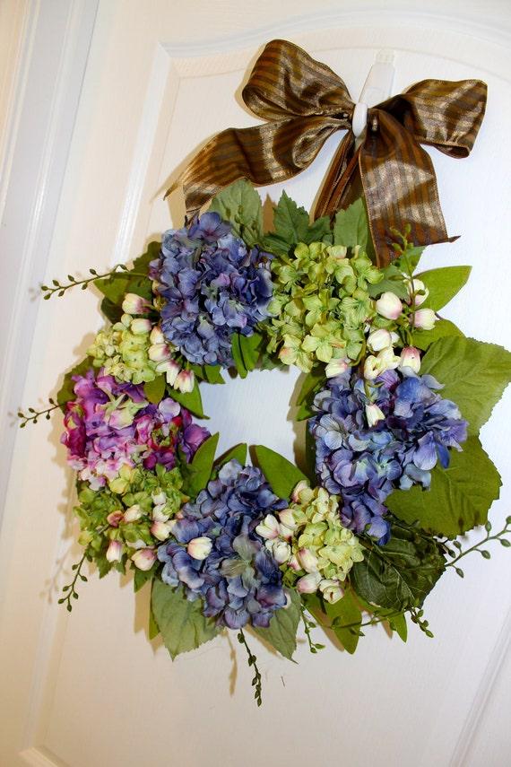 Spring Wreath - Summer Wreath - Hydrangea Wreath - Lilies of the Valley - Front Door Decor - Door Wreath