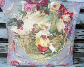 Lavender Toile Pillow Cover