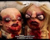 Bloody Horror Zombie Wedding Art Dolls - Creepy Husband & Wife