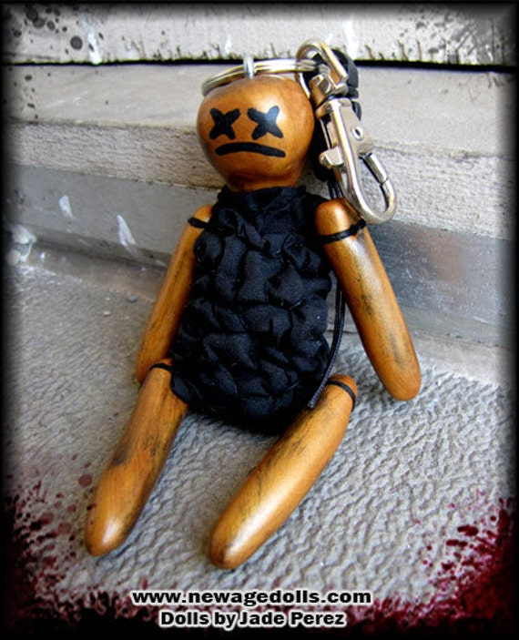 Handmade Dead Voodoo Doll Keychain Burnt Orange