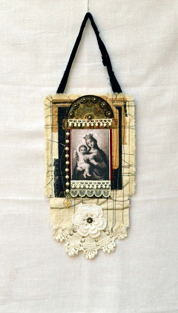 Our Blessed Mother and Christ the Child - Original Art Quilt