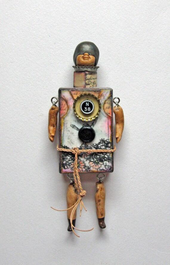 Mixed Media Assemblage - Block Art Doll