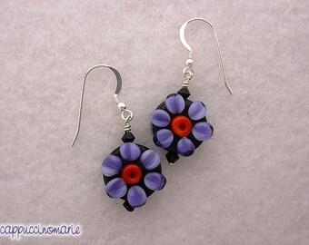 Purple Flowers on Black - Lampwork Earrings - Sterling earwires