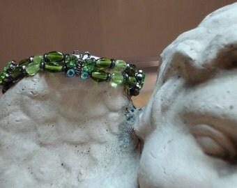 Double Peridot and Swarovski Crystal Butterfly Bracelet