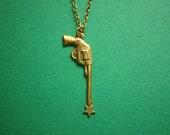 Shooting Star Gun Necklace-Brass