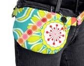 SALE 50% off Pop Candy - Hipster - Convertible Hip Belt Bag Turquoise Patchwork Starburst Dots Stripes