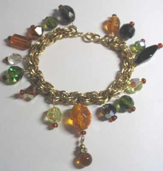 Drippy autumn-colors charm bracelet w/vintage glass/crystal beads