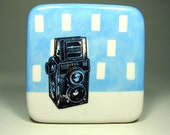 tile of a lomo lubitel twin lens camera. Made to Order.