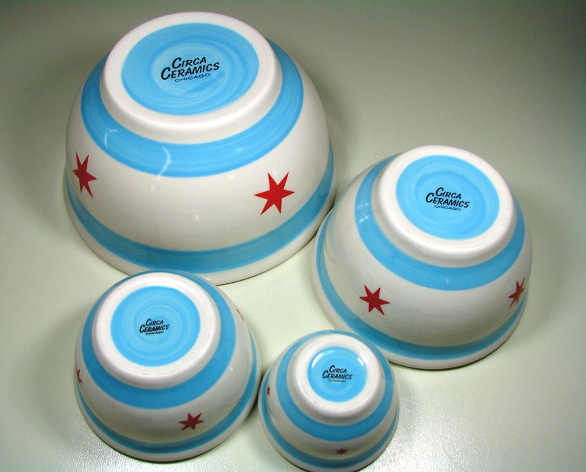 mixing bowl set chicago flag.  Made to Order.
