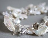First Frost - charm bracelet biwa pearl and Swarovski crystal
