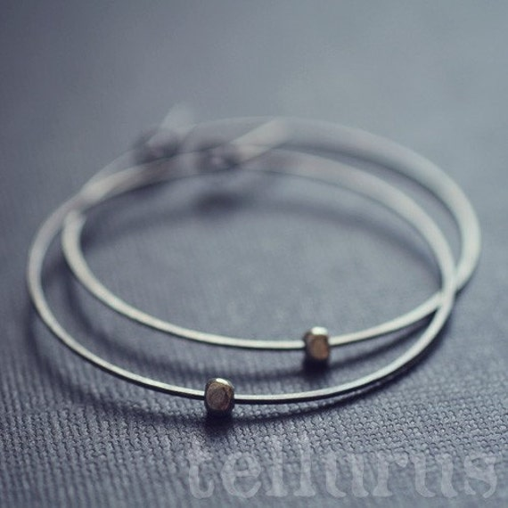 Satellite Hoops - hammered oxidised sterling silver with fine silver accents