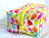 Boxy Cosmetic Zipper Pouch  - Colorful Spring Flower