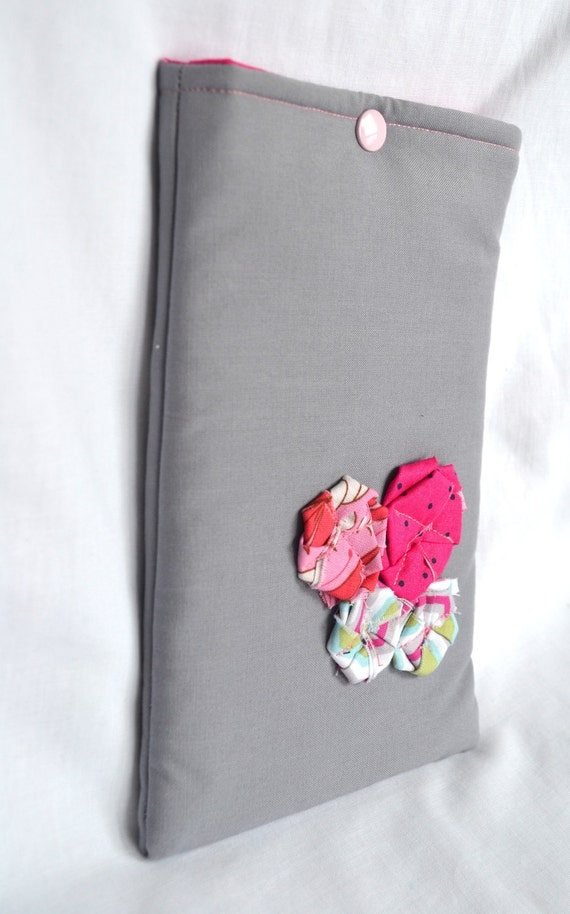 eReader Cover  - Kindle Case - Gray with Pink fabric flowers
