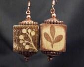 Hand stamped wooden block earrings