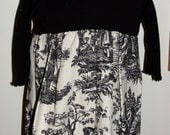 Holiday Black and Cream Toile Dress sz 12 18 mths