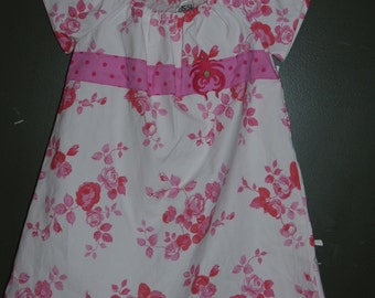 Floral Pink Shabby Peasant Dress Girls size 2 to 3