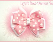 Large Pink Polka Dot Layered Pinwheel Hair Bow or Headband - pink polka dots - girls hair bows - toddler girls - pink baby headbands