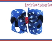 Large Boutique Style Patriotic Hair Bow Perfect for 4th of July, girls, pageant, dance, cheer, sports bows