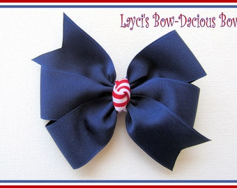 Light Navy Pinwheel Style Patriotic Hair Bow, Perfect for 4th of July, navy hair bow