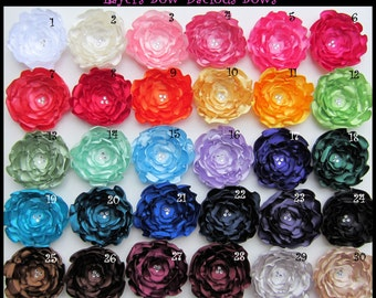 Choose 1 Handmade Satin Flower Hair Clips - wedding accessories - bridal - flower girl - prom - international shipping