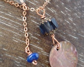 Two Delicate Necklaces in Copper and Blue